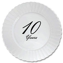 High-quality scalloped edge plastic plates printed with fine script for that occasion when paper just won\u0027t do. You will love the look and feel of these ...  sc 1 st  Partypro.com & 10 years classy black party supplies - 10 years classy black plastic ...