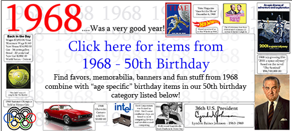 1968 50th Birthday Party Supplies