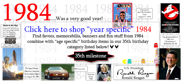 Click here to shop 1984-35th Birthday Party Supplies