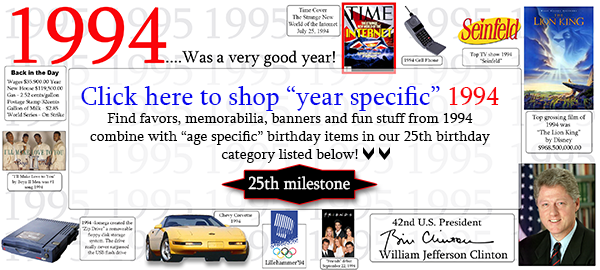 Click Here To Shop 1994 25th Birthday Party Supplies