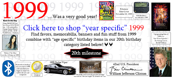 Click here to shop 1999-20th Birthday Party Supplies
