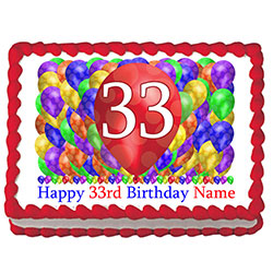 33RD BIRTHDAY BALLOON BLAST EDIBLE IMAGE