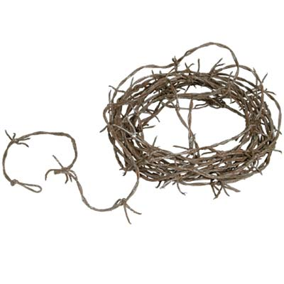 Click for larger picture of RUSTY BARBED WIRE GARLAND (12/CASE) PARTY SUPPLIES