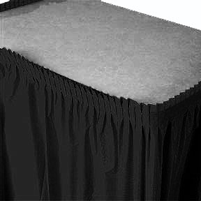 Click for larger picture of BLACK PLASTIC 14' TABLESKIRT (6/CS) PARTY SUPPLIES
