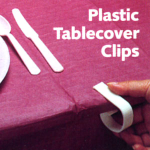 CLEAR PLASTIC TABLECOVER CLIPS (72/CASE) PARTY SUPPLIES