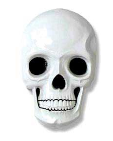 Click for larger picture of PLASTIC SKULL WHITE W/BLACK PRINT 21IN. PARTY SUPPLIES