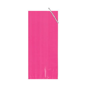HOT PINK W/SLVR TIES CELLO BAG SMALL PARTY SUPPLIES