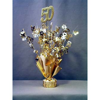 Click for larger picture of 50TH ANNIVERSARY CENTERPIECE-BALLOON WT PARTY SUPPLIES