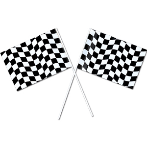 BLACK & WHITE CHECK SMALL PLASTIC FLAG PARTY SUPPLIES