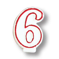 Click for larger picture of NUMERAL 6 CANDLE (6/CASE) PARTY SUPPLIES
