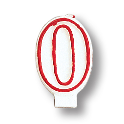 Click for larger picture of NUMERAL 0 CANDLE (6/CASE) PARTY SUPPLIES