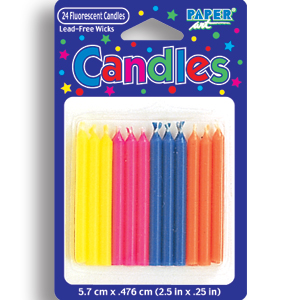 Click for larger picture of FLOURESCENT COLORED CANDLES PARTY SUPPLIES