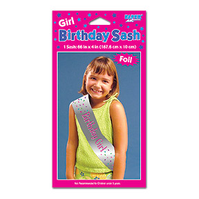 Click for larger picture of SASH BIRTHDAY GIRL (6/CS) PARTY SUPPLIES