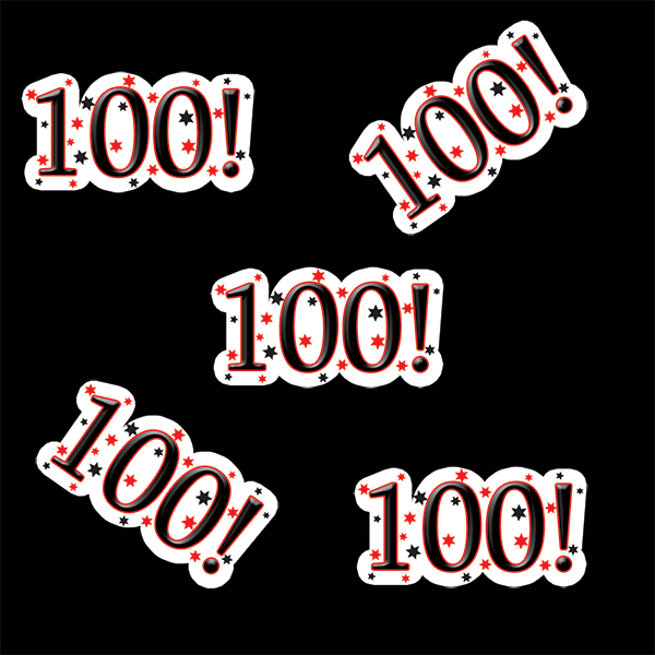 100! BIRTHDAY DECO FETTI PARTY SUPPLIES