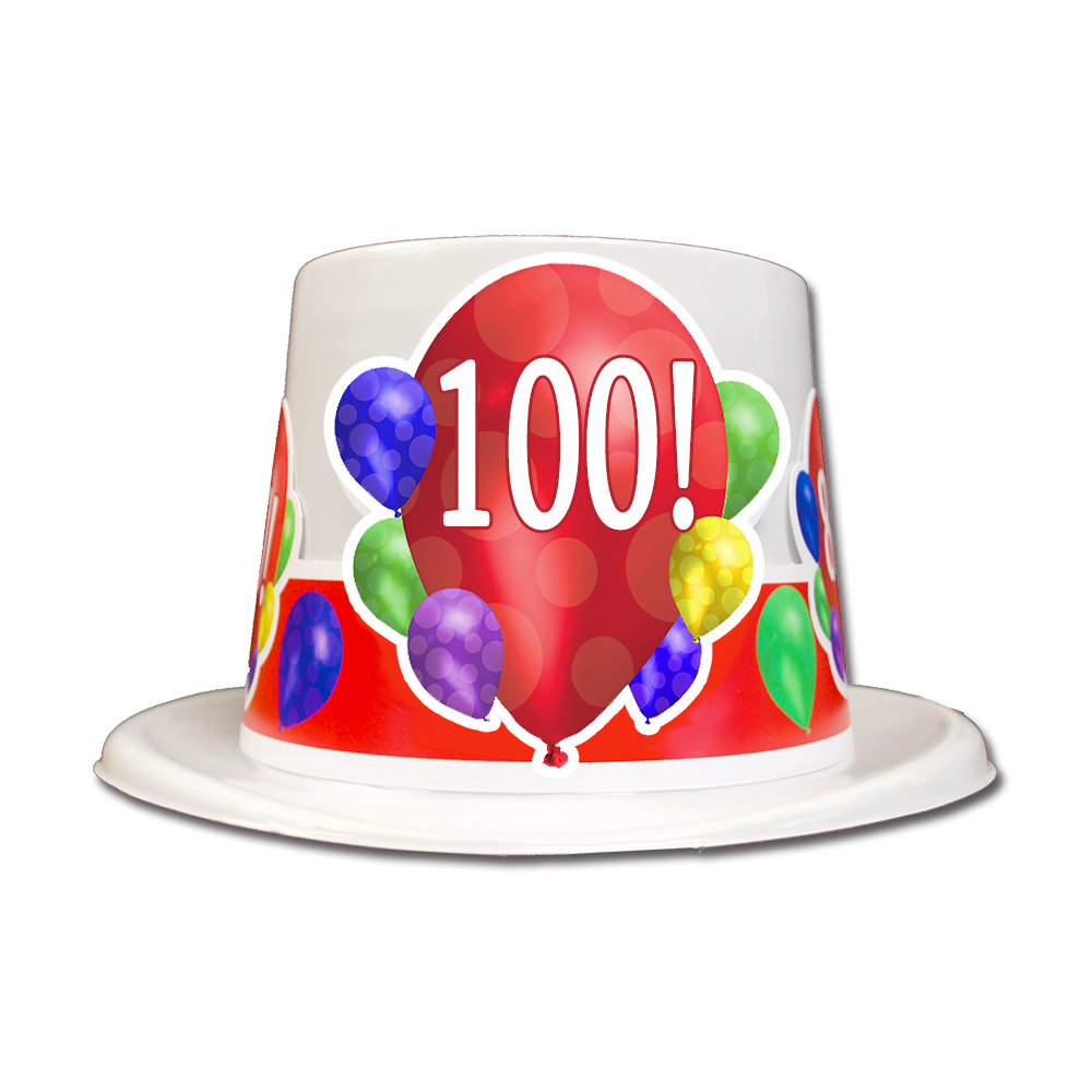 Click For Larger Picture Of 100TH BIRTHDAY BALLOON BLAST TOP HAT PARTY SUPPLIES
