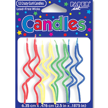 Click for larger picture of CRAZY CURL PRIMARY CANDLE (72/CASE) PARTY SUPPLIES