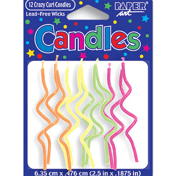 Click for larger picture of CRAZY CURL BRIGHTS CANDLE (72/CASE) PARTY SUPPLIES
