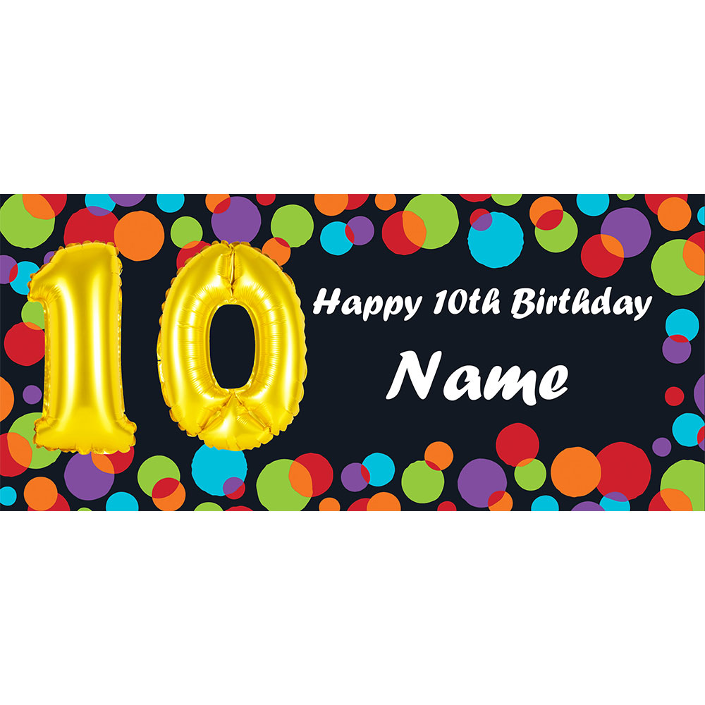Click For Larger Picture Of BALLOON 10TH BIRTHDAY CUSTOMIZED BANNER PARTY SUPPLIES