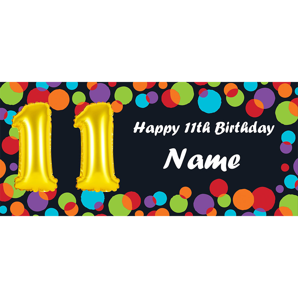 Click For Larger Picture Of BALLOON 11TH BIRTHDAY CUSTOMIZED BANNER PARTY SUPPLIES