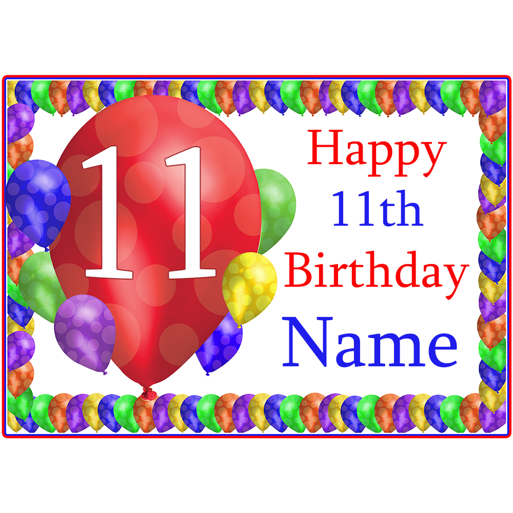 Click For Larger Picture Of 11TH BALLOON BLAST CUSTOMIZED PLACEMAT PARTY SUPPLIES