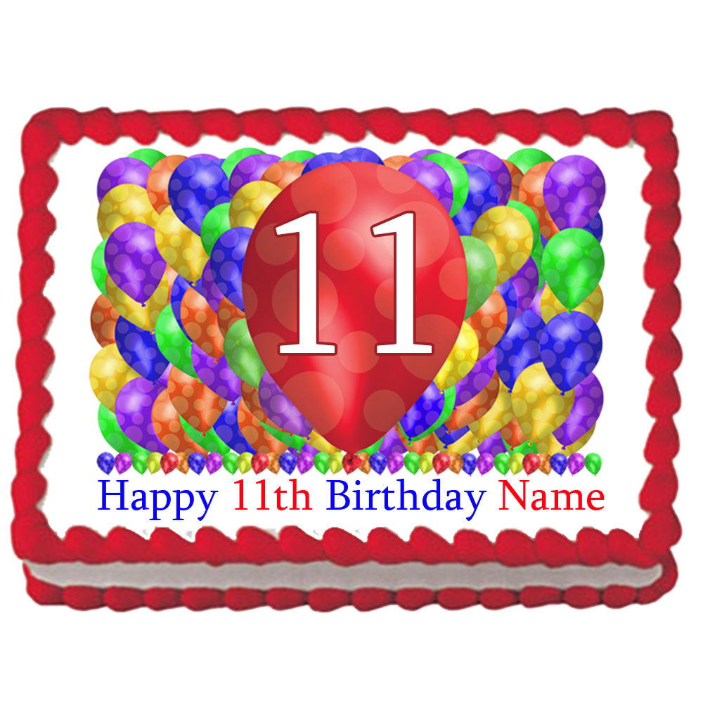 Click For Larger Picture Of 11TH BIRTHDAY BALLOON BLAST EDIBLE IMAGE PARTY SUPPLIES