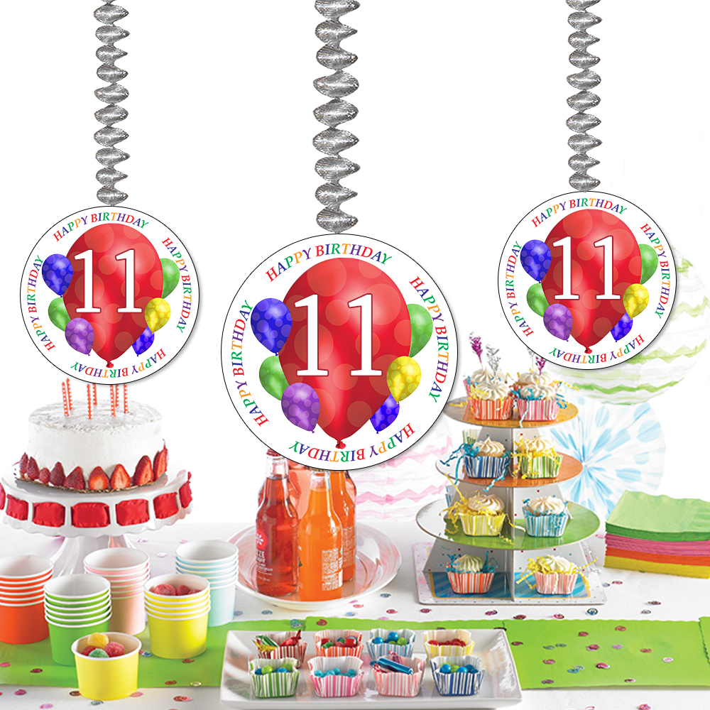 Click For Larger Picture Of 11TH BIRTHDAY BALLOON BLAST DANGLER PARTY SUPPLIES