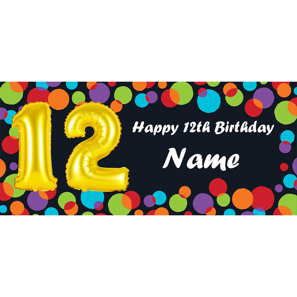 Click For Larger Picture Of BALLOON 12TH BIRTHDAY CUSTOMIZED BANNER PARTY SUPPLIES