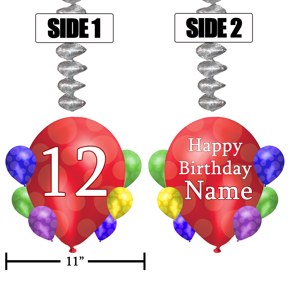 Click for larger picture of 12TH BALLOON BLAST JUMBO CUSTOM DANGLER PARTY SUPPLIES