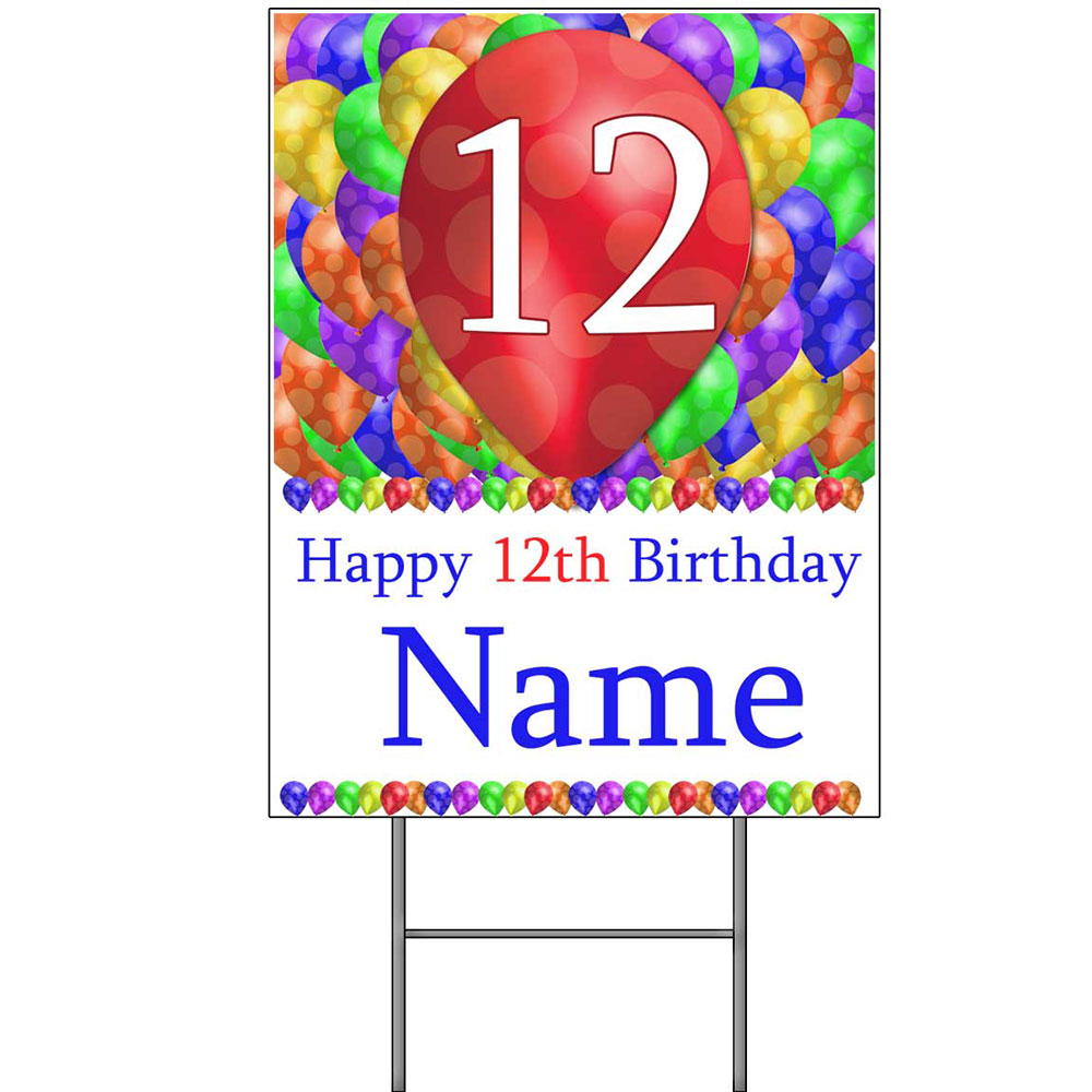 Click For Larger Picture Of 12TH CUSTOMIZED BALLOON BLAST YARD SIGN PARTY SUPPLIES