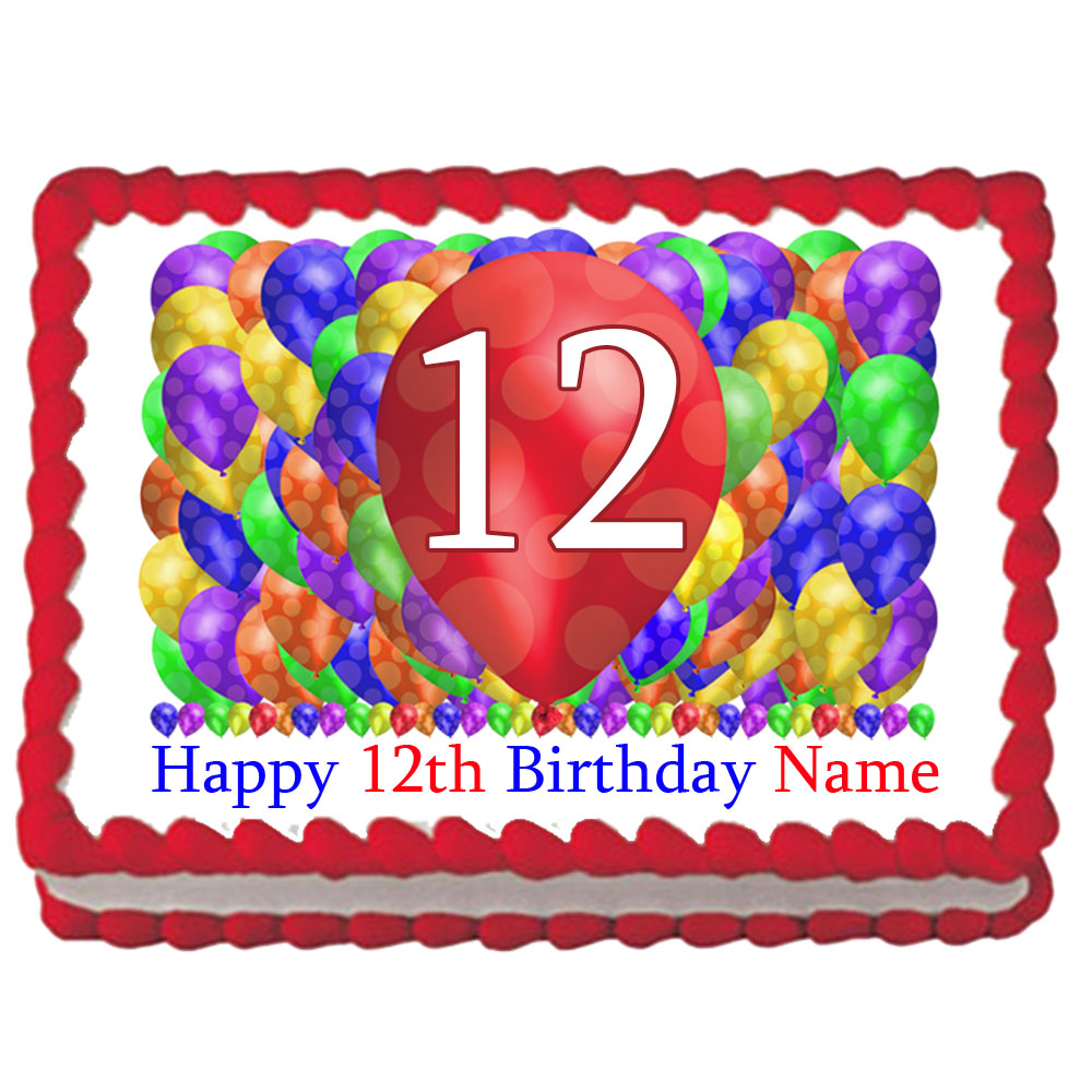 Click For Larger Picture Of 12TH BIRTHDAY BALLOON BLAST EDIBLE IMAGE PARTY SUPPLIES
