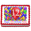 12TH BIRTHDAY BALLOON BLAST EDIBLE IMAGE PARTY SUPPLIES