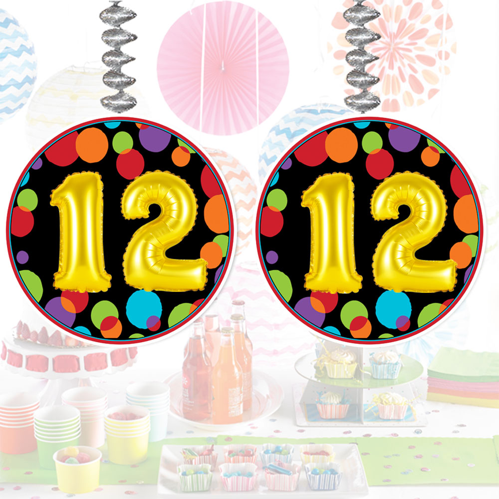 Click For Larger Picture Of 12TH BIRTHDAY BALLOON DANGLER PARTY SUPPLIES