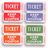 DOUBLE ROLL TICKETS RED/BLUE/ORG/GREEN PARTY SUPPLIES