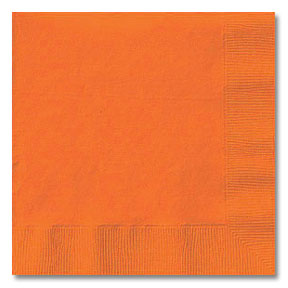 Click for larger picture of ORANGE 2 PLY BEVERAGE NAPKIN (600/CS) PARTY SUPPLIES