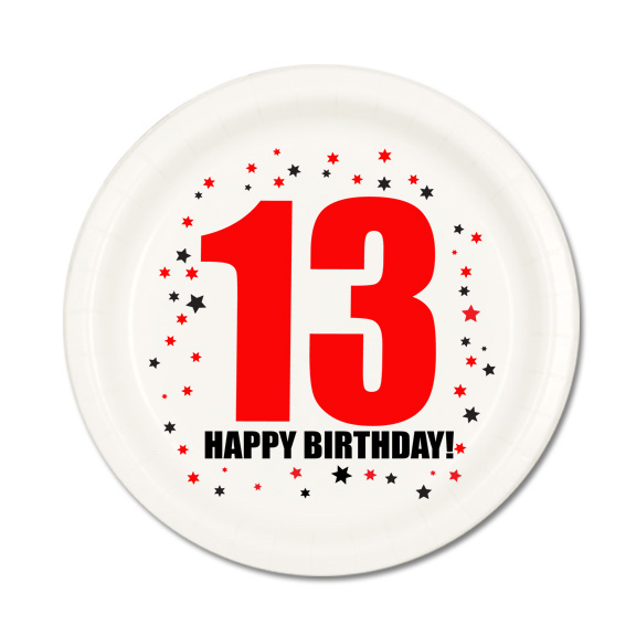 Click for larger picture of 13TH BIRTHDAY DESSERT PLATE 8-PKG PARTY SUPPLIES