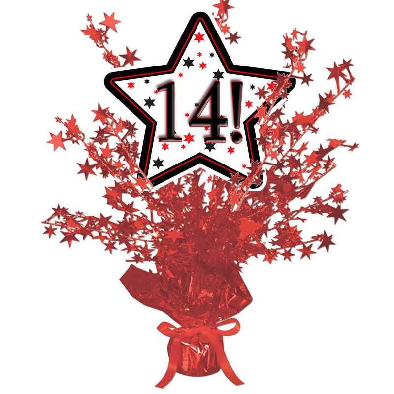 Click for larger picture of 14! RED STAR CENTERPIECE PARTY SUPPLIES