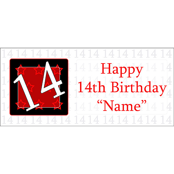 Click for larger picture of PERSONALIZED  14 YEAR OLD BANNER PARTY SUPPLIES