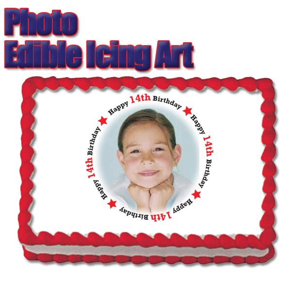 Click for larger picture of 14TH BIRTHDAY PHOTO EDIBLE ICING ART PARTY SUPPLIES