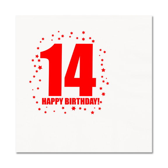 Click for larger picture of 14TH BIRTHDAY LUNCHEON NAPKIN 16-PKG PARTY SUPPLIES