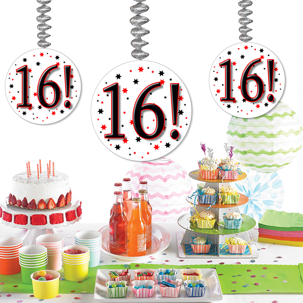 Click for larger picture of 16! DANGLER DECORATION 3/PKG PARTY SUPPLIES