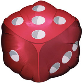 DICE SHAPED MYLAR 18 IN. PARTY SUPPLIES