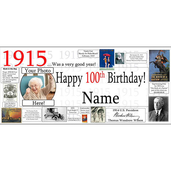 1915 CUSTOM PHOTO BANNER PARTY SUPPLIES