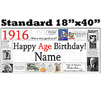 1916 PERSONALIZED BANNER PARTY SUPPLIES