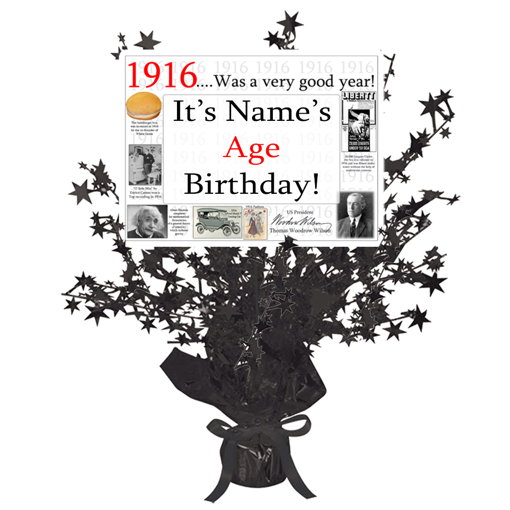 Click for larger picture of 1916 CUSTOMIZED BLACK STAR CENTERPIECE PARTY SUPPLIES