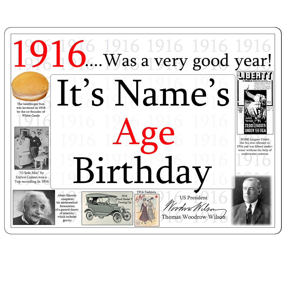 Click for larger picture of 1916 CUSTOMIZED DOOR POSTER PARTY SUPPLIES