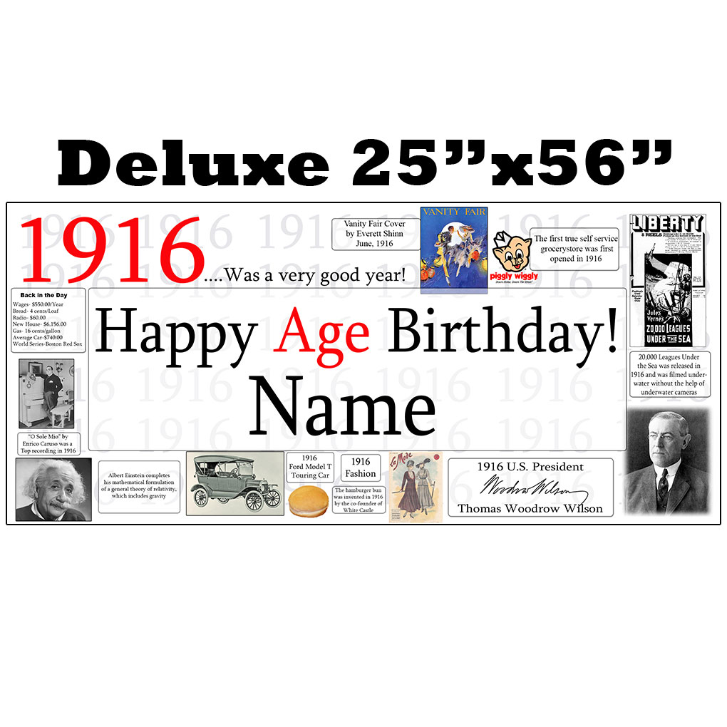 Click for larger picture of 1916 DELUXE PERSONALIZED BANNER PARTY SUPPLIES