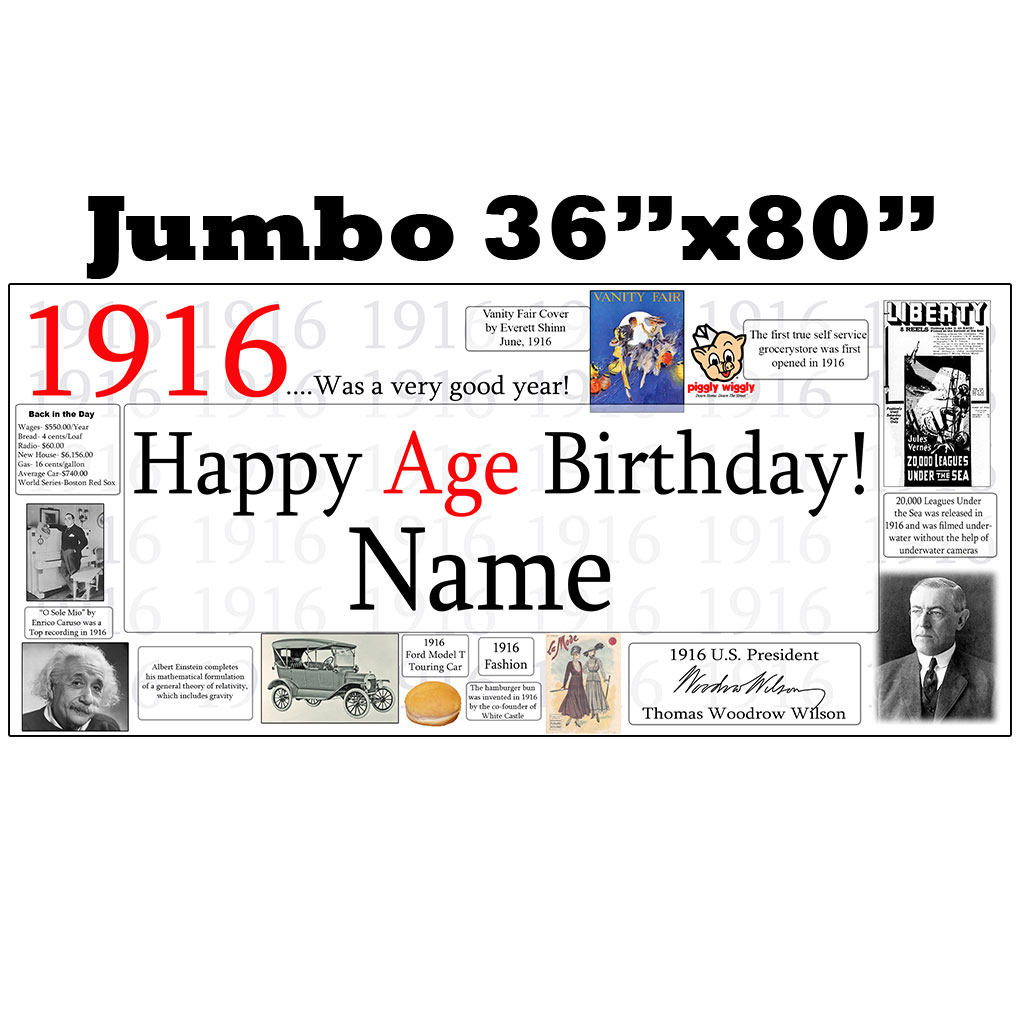 Click for larger picture of 1916 JUMBO PERSONALIZED BANNER PARTY SUPPLIES