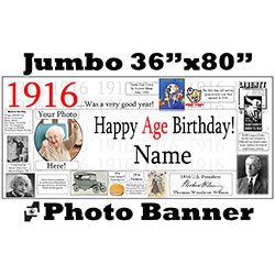 1916 CUSTOM PHOTO JUMBO BANNER PARTY SUPPLIES