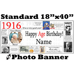 1916 CUSTOM PHOTO BANNER PARTY SUPPLIES