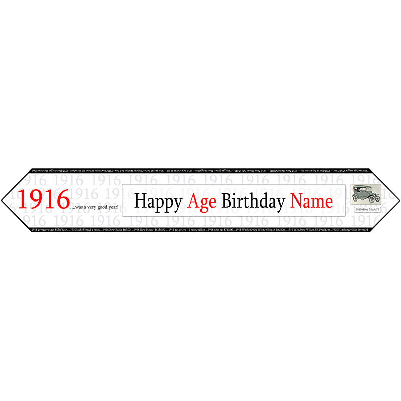 Click for larger picture of 1916 PERSONALIZED TABLE BANNER PARTY SUPPLIES